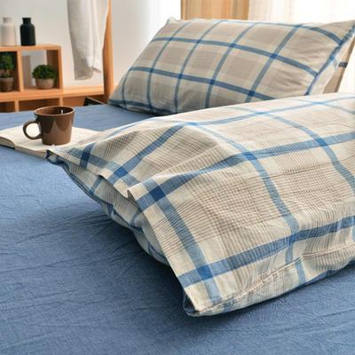 无印良品风水洗棉套件 1.8m(6英尺)床 条格蓝