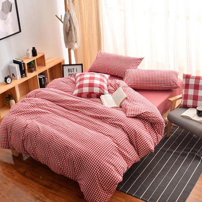 无印良品风水洗棉套件 1.2m(4英尺)床 红小格