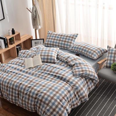 无印良品风水洗棉套件 2.0m(6.6英尺)床 彩格蓝