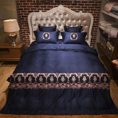 新款60天丝刺绣花四六件套 标准 安娜丽丝-深蓝