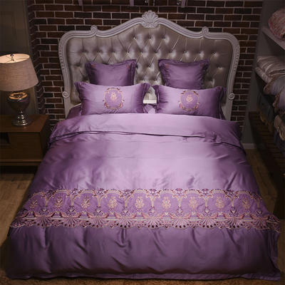 新款60天丝刺绣花四六件套 标准 安娜丽丝-水晶紫
