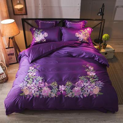 新款60天丝刺绣花四六件套 标准 俏丽佳人-深紫