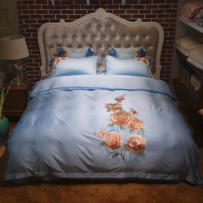 新款60天丝刺绣花四六件套 标准 夕颜-天蓝