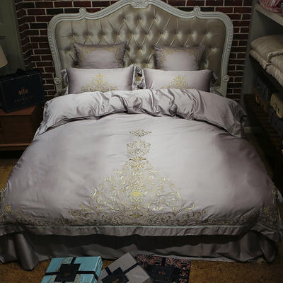 新款60天丝刺绣花四六件套 标准 凯撒豪廷-银灰
