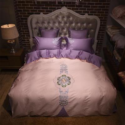 60支长绒棉贡缎绣花套件 新时尚 抱枕套一对 粉紫