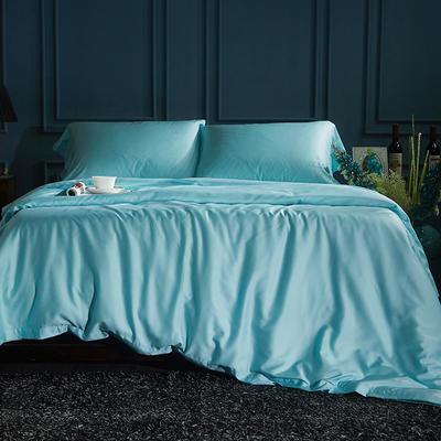 60S纯色天丝纽扣款四件套-床单床笠款2017新款 1.5/1.8米床单款 孔雀蓝
