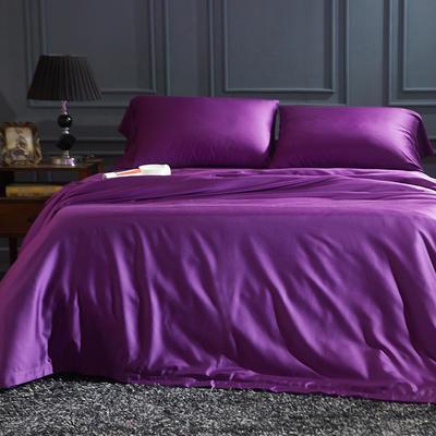 60S纯色天丝纽扣款四件套-床单床笠款2017新款 1.5米床笠款 魅力紫