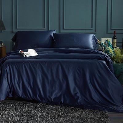 60S纯色天丝纽扣款四件套-床单床笠款2017新款 1.5米床笠款 深邃蓝