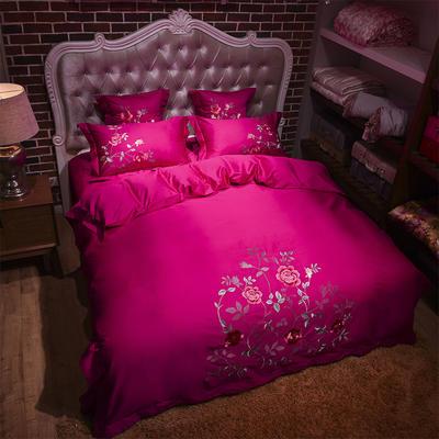 60长绒棉贡缎绣花四六件套(展厅实拍图) 标准(1.5m-1.8m床) 爱在花期 玫红