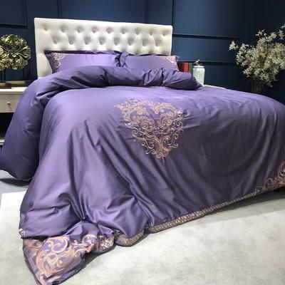 60长绒棉贡缎绣花四六件套(展厅实拍图) 标准(1.5m-1.8m床) 奥德利 紫