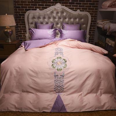 60长绒棉贡缎绣花四六件套(展厅实拍图) 标准(1.5m-1.8m床) 新时尚 粉紫