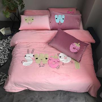2017新款暖绒系列-纯色宝宝绒贴布绣花四件套床单床笠款