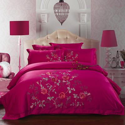 60支长绒棉贡缎绣花套件 爱在花期 标准 玫红