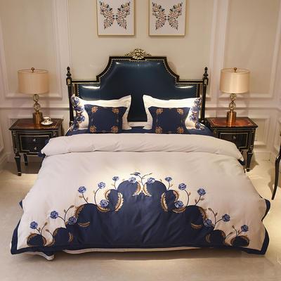 60长绒棉贡缎绣花四件套 60长绒棉系列四件套 标准四件套(1.5m-1.8m床) 巴洛克花园 深蓝