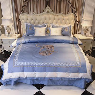 60长绒棉贡缎绣花四件套 60长绒棉系列四件套 标准四件套(1.5m-1.8m床) 皇室风韵 蓝