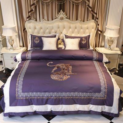 60长绒棉贡缎绣花四件套 60长绒棉系列四件套 标准四件套(1.5m-1.8m床) 皇室风韵 紫