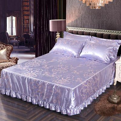 2018新款色织提花冰丝凉席防滑床裙床笠三件套 1.5m(床笠款) 瑞丽庄园 蓝紫