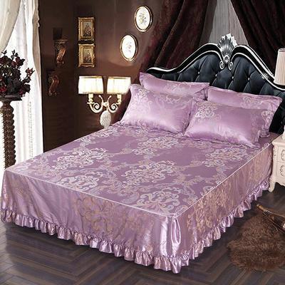 2018新款色织提花冰丝凉席防滑床裙床笠三件套 1.5m(床笠款) 瑞丽庄园 紫水晶