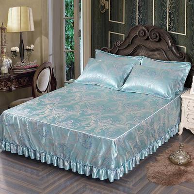 2018新款色织提花冰丝凉席防滑床裙床笠三件套 1.5m(床笠款) 斯里兰卡 宝石绿