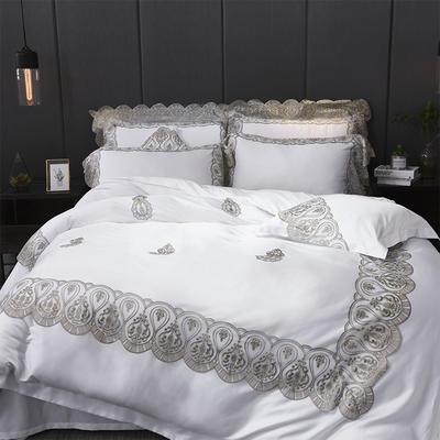 2018新品60天丝蕾丝绣四六件套 1.5m(5英尺)床 爱丽丝 本白