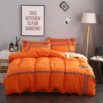 2018新款时尚运动风40S绣花四件套 1.5m(5英尺)床 路易斯 橙色
