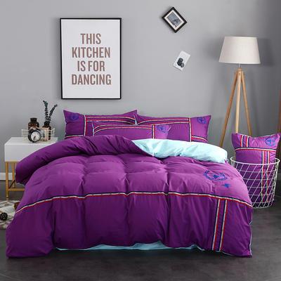 2018新款时尚运动风40S绣花四件套 1.5m(5英尺)床 路易斯 紫色