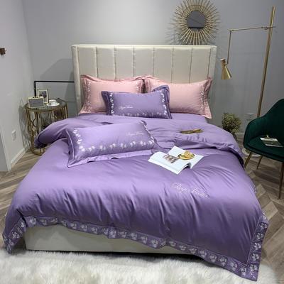 2019新款60S长绒棉时尚简约刺绣四件套 1.8m(6英尺)床 花漾年华 紫
