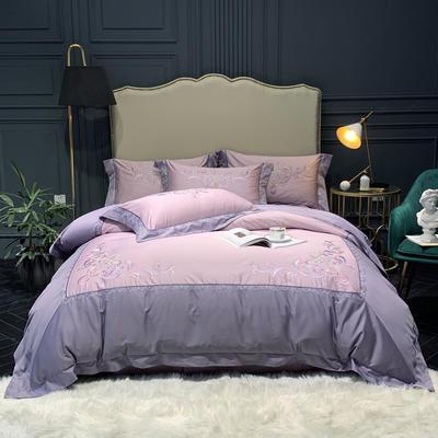 2019新款60S长绒棉贡缎刺绣四件套 1.8m(6英尺)床 巴塞尔 浅紫-兰灰