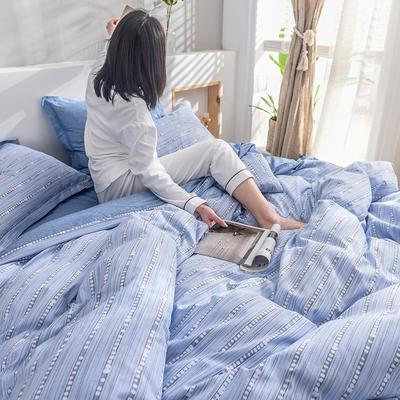 2019新款13372全棉印花后现代系列 床单款三件套1.2m床 蓝色天际
