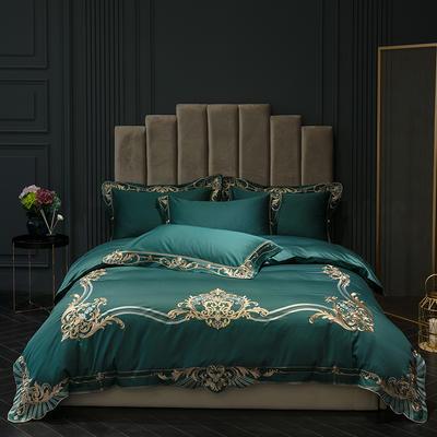 2019新款60S长绒棉刺绣-拉菲尔网四件套 标准1.5-1.8m(6英尺)床 拉菲尔 珊瑚绿