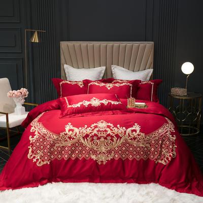 2019新款80S长绒棉刺绣四件套-梵高 1.5m床单款 梵高 大红