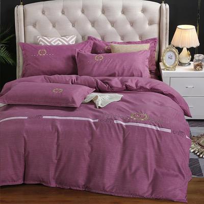 2019新款加厚色纺磨绒刺绣四件套-爱情天使 1.8m床单款 爱情天使 红紫