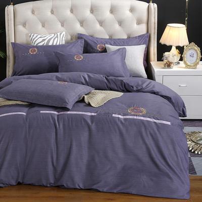 2019新款加厚色纺磨绒刺绣四件套-爱情天使 1.8m床单款 爱情天使 紫