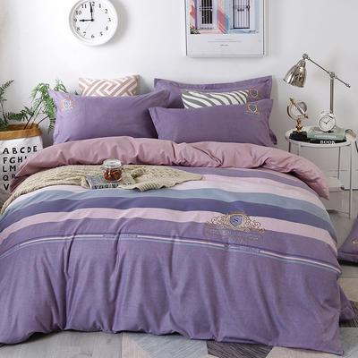 2019新款加厚色纺磨绒刺绣四件套-绝色倾城 1.8m床单款 绝色倾城 浅紫