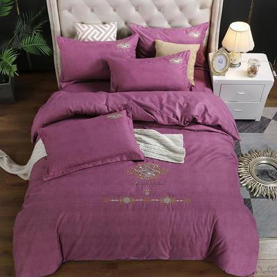 2019新款加厚色纺磨绒刺绣四件套-奢想贵族 1.8m床单款 奢想贵族 红紫