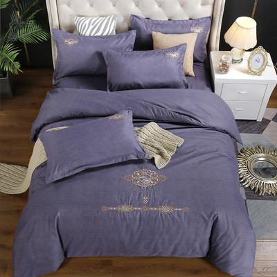 2019新款加厚色纺磨绒刺绣四件套-奢想贵族 1.8m床单款 奢想贵族 紫