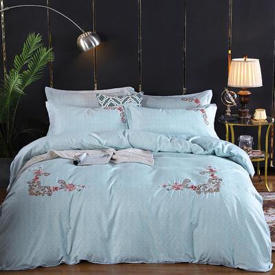 2019新款加厚色纺磨绒刺绣四件套-甜蜜花园 1.5m床单款 苹果绿