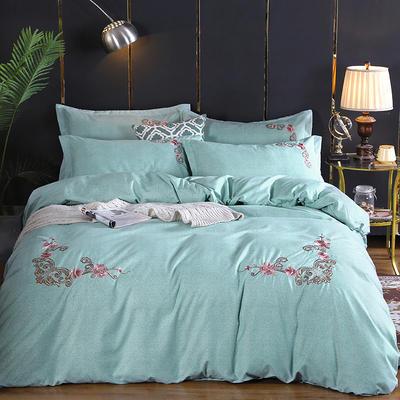2019新款加厚色纺磨绒刺绣四件套-甜蜜花园 1.5m床单款 珊瑚绿