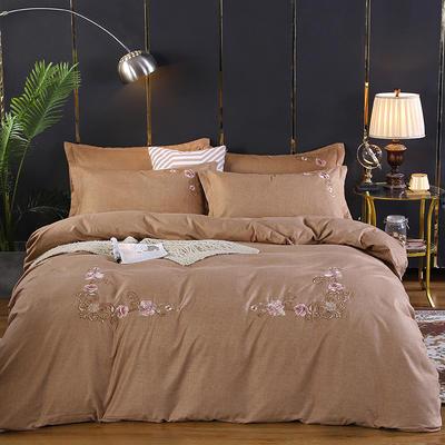 2019新款加厚色纺磨绒刺绣四件套-甜蜜花园 1.5m床单款 驼色