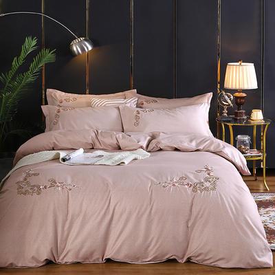 2019新款加厚色纺磨绒刺绣四件套-甜蜜花园 1.5m床单款 胭脂红