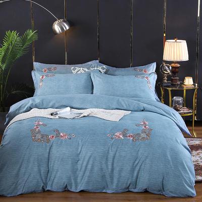 2019新款加厚色纺磨绒刺绣四件套-甜蜜花园 1.5m床单款 烟兰