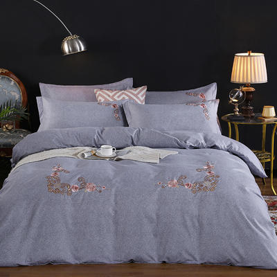 2019新款加厚色纺磨绒刺绣四件套-甜蜜花园 1.5m床单款 银灰
