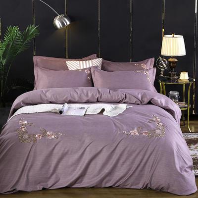 2019新款加厚色纺磨绒刺绣四件套-甜蜜花园 1.5m床单款 紫灰