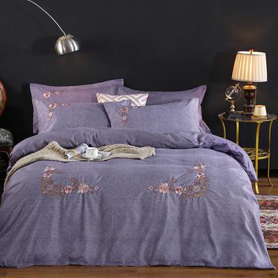 2019新款加厚色纺磨绒刺绣四件套-甜蜜花园 1.5m床单款 紫色