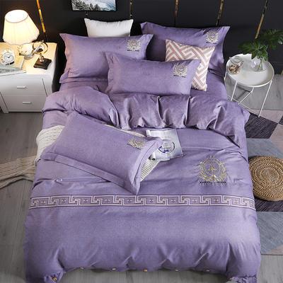 2019新款加厚色纺磨绒刺绣四件套-自由风尚 1.8m床单款 自由风尚 紫灰