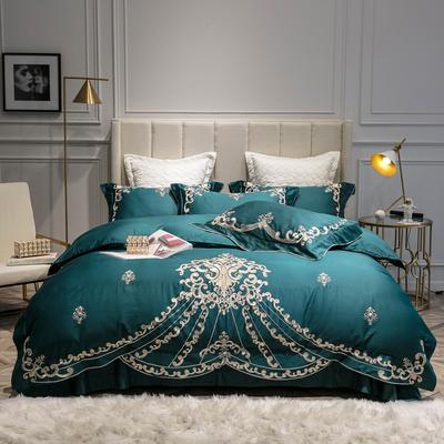 2019新款60长绒棉重工刺绣四件套-瑟莲娜 白色绗缝抱枕套60*60cm/对 瑟琳娜 珊瑚绿