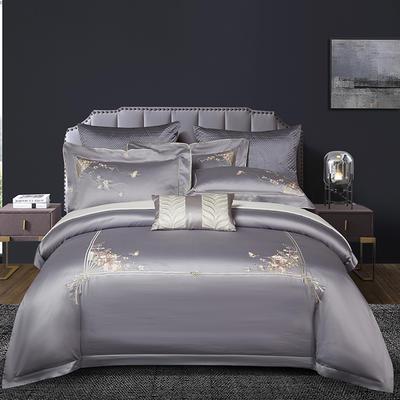 2020新款80S长绒棉刺绣系列四件套-菲拉格慕 1.5m床单款 菲拉格慕 高级灰