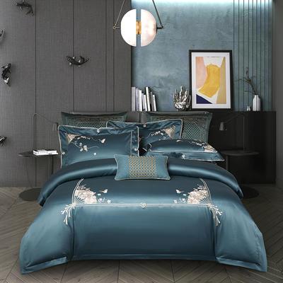 2020新款80S长绒棉刺绣系列四件套-菲拉格慕 1.5m床单款 菲拉格慕 贵族蓝
