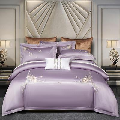 2020新款80S长绒棉刺绣系列四件套-菲拉格慕 1.5m床单款 菲拉格慕 魅惑紫