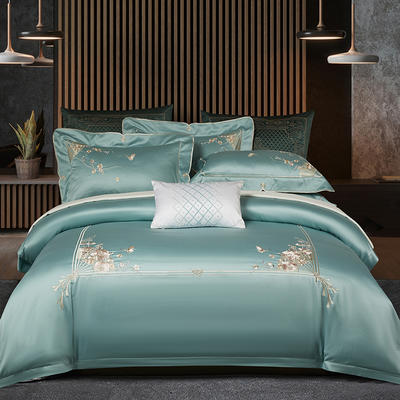 2020新款80S长绒棉刺绣系列四件套-菲拉格慕 1.5m床单款 菲拉格慕 青竹绿